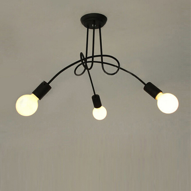 Loft nero Europa Del Nord da cucina Moderno lampadario led e27 ferro ...