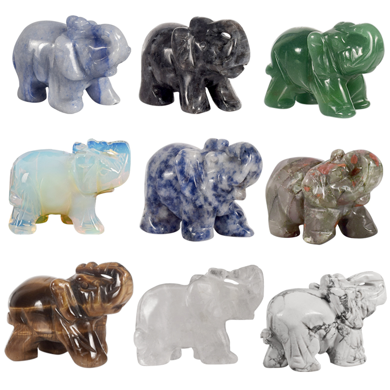 Elephant Figurines Craft Decor Animal-Statue Crystal Chakra-Healing Carved Mini Jade