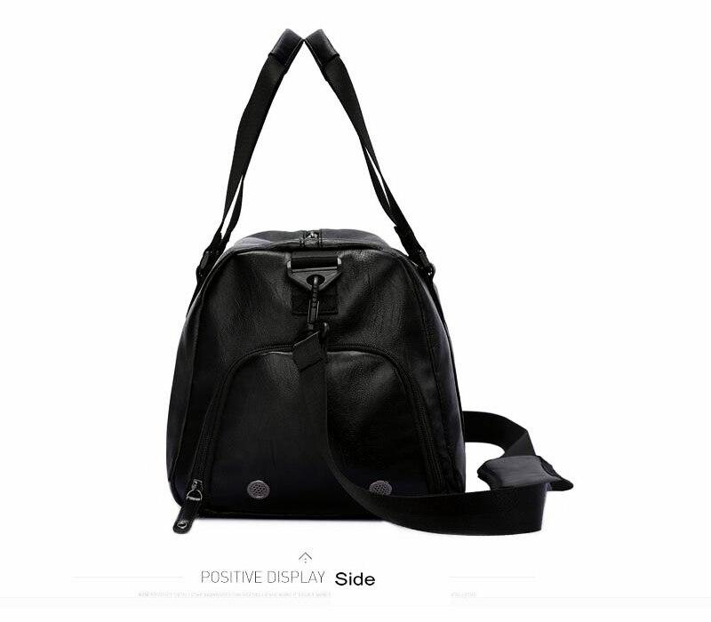 9797fed97027 2019 Black Gym Bag Men Leather Duffle Bag Women Independent Shoe ...