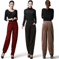 Autumn high waist female 100% cotton corduroy loose fashion bloomers middle-age plus size casual pants