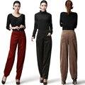 Otoño de la alta cintura para mujer 100% algodón de pana suelta bloomers moda de mediana edad más tamaño pantalones casuales