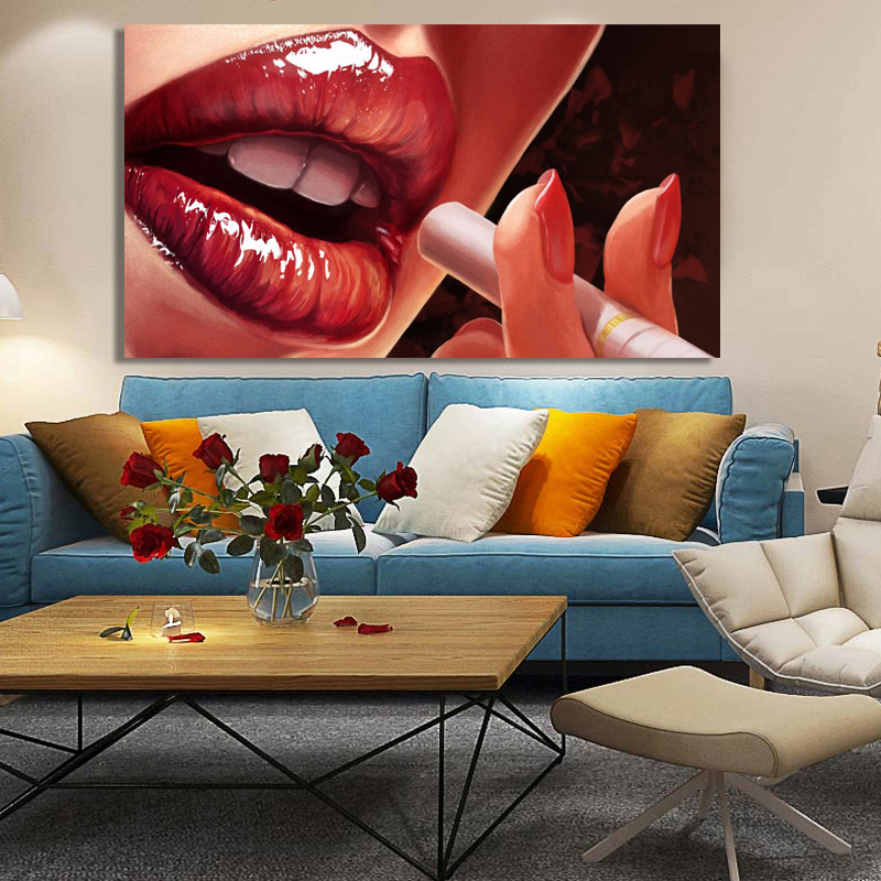 Wall Paintings Posters and Prints on Canvas Wall Art Painting Red Sexy Lips Smoking Pictures for Living Room Home Decor No Frame in Painting Calligraphy from Home Garden