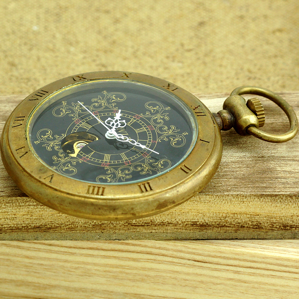 Luxury Copper Case Men Mechanical Pocket Watch With Chain High Quality
