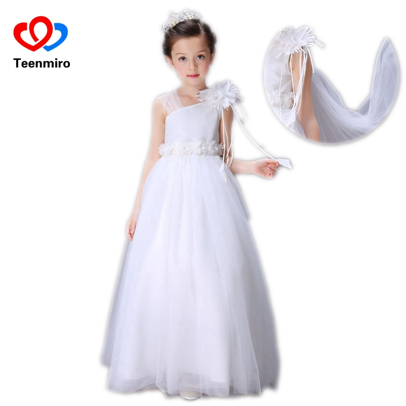 Summer Girls Dress Flower Mesh Children Lace Dresses Wedding Party Long Gowns White Sleeveless Kids Birthday Clothing for Girl 2017 3 14y summer mint green party evening dresses kids dresses for girls sleeveless mesh lace dress children vestidos mujer d25