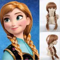 Princess Anna Elsa Cosplay Wigs for Women Girls Long Straight 70cm Two Braid Heat Resistant Synthetic Anime Movie Wig Brown