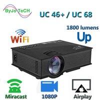 Новое обновление UNIC UC68 Мультимедиа Домашний кинотеатр 1800 люмен, светодиодный проектор с HD 1080p лучше, чем UC46 поддержка Miracast Airplay