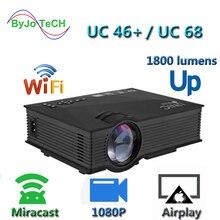 Новое обновление UNIC UC68 Мультимедиа Домашний кинотеатр 1800 люмен, светодиодный проектор с HD 1080 p лучше, чем UC46 поддержка Miracast Airplay