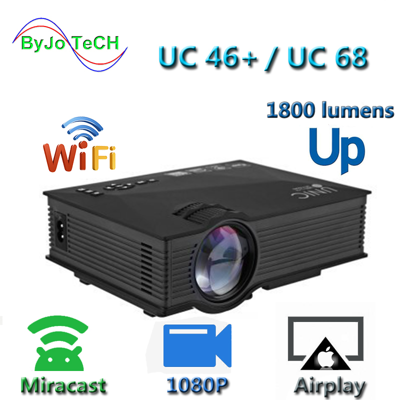 Nouvelle mise à niveau UNIC UC68 multimédia Home Theatre 1800 lumens projecteur LED avec HD 1080p mieux que UC46 Support Miracast Airplay