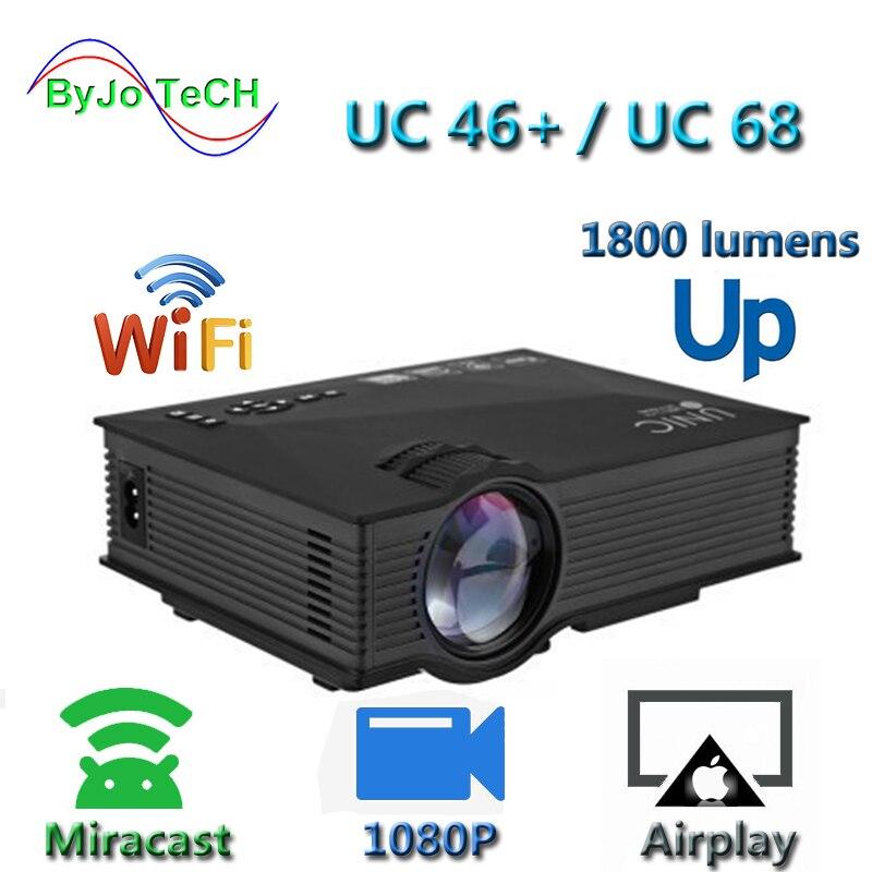 Nova Atualização UNIC UC68 multimedia Home Theater projetor 1800 lumens levou com HD 1080p Suporte Miracast Better than UC46 airplay