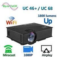 Nueva actualización UNIC UC68 multimedia Home Theatre 1800 lúmenes proyector led con HD 1080p mejor que UC46 soporte Miracast Airplay