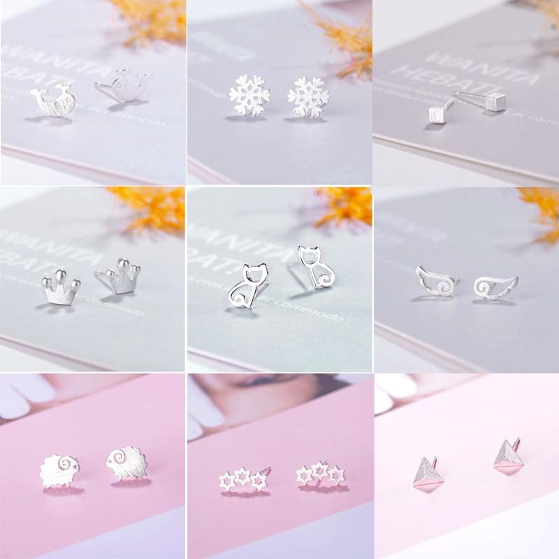 Fengli desenho de prata brincos do parafuso prisioneiro das mulheres coelho gato forma do floco de neve brinco personalidade na moda charme minúsculo orelha studs