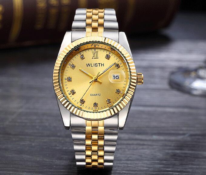 WLISTH роскошные золотые часы для женщин и мужчин, для влюбленных, нержавеющая сталь, Кварцевые водонепроницаемые мужские наручные часы для мужчин, аналог Авто Дата clcok - Цвет: Full Gold For Man