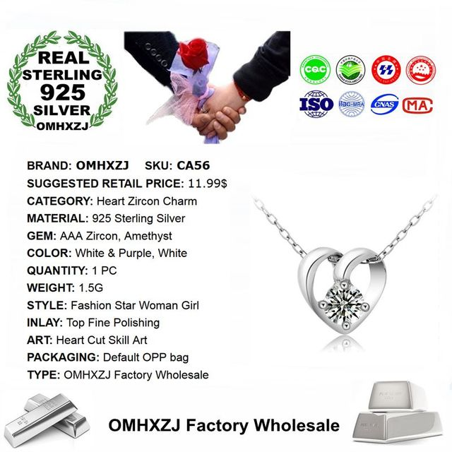 OMHXZJ Wholesale European Fashion Woman Girl Party Gift Heart Amethyst Zircon 925 Sterling Silver Necklace Pendant Charm CA56