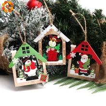3PCS Creative Printed House Santa Christmas Wooden Pendants Ornaments Wood Craft Kids Toys Tree Decorations