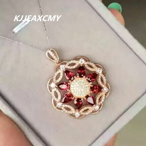 Pure S925 Silver Jewelry Wholesale Independent Kjjeaxcmy Boutique Jewelry,silver Natural Garnet Pendant