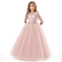 Pink LACE Girl Dress Kid Girls First Communion Dresses Tulle Lace Wedding Long Princess Costume For Junior Children Clothes