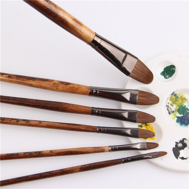 6pcs/Set high grade weasel hair brush paintbrush tongue peak row acrylic paints oil paint brush Set Drawing Art Supplies