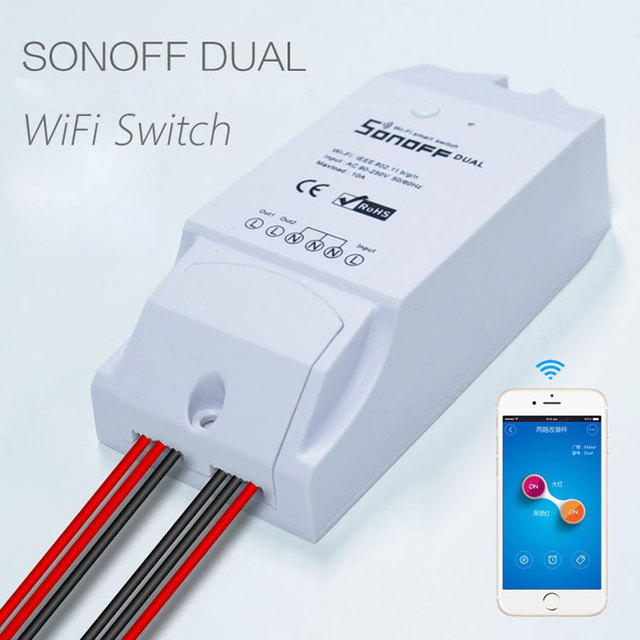 Itead Sonoff Dual Smart Home 2 Way Wifi Smart Switch,Wireless Remote Control Intelligent DIY Timer Switch 220V Home Automation
