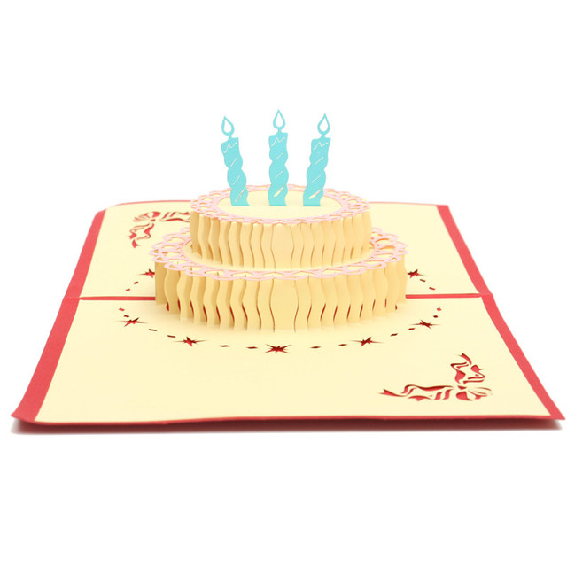 Funny Happy Birthday Cake Paper Carving 3d Cards Greeting Card With