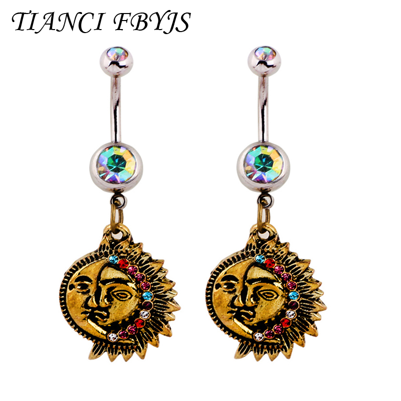 Us 4 4 1pcs Steel Sun Moon Navel Rings Dangle Piercing Belly Button Rings Navel Rings Bar Nombril Ombligo Rings Sexy Body Jewelry On Aliexpress Com