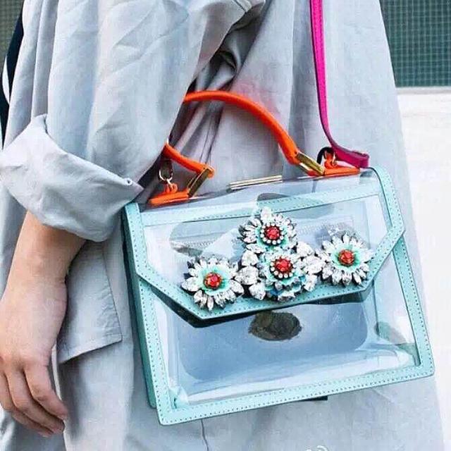 Paris fashion good quality gem diamond crystal PVC transparent  personality ladies handbag mini messenger bag shoulder bag purse