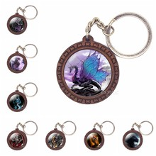 Winged Dragon Keychain Fantasy Medieval Style Jewelry Engraved Wood Key Rings Key Holder Dragon Pendant Gift(China)