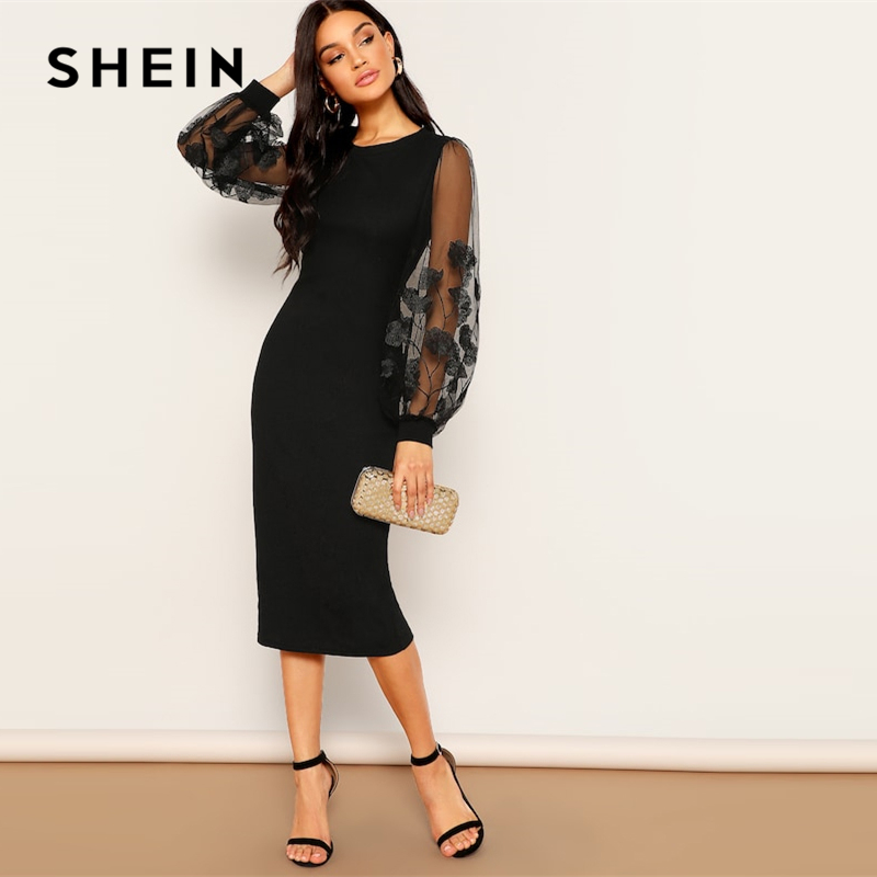 SHEIN Black Embroidery Mesh Insert Stretchy Bishop Sleeve Fitted Knee Length Bodycon Dress Women 2019 Spring Sheath Dresses