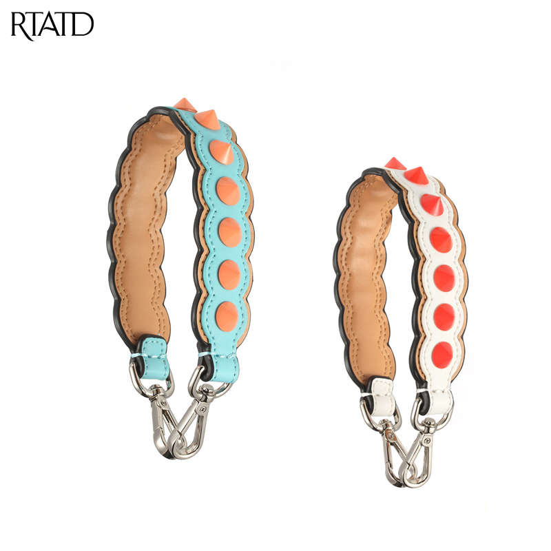 RTATD New Woman Bag Strap Genuine Leather Short Strap With Studs Strapper You Bag Accessories Ladies Shoulder Strap B176