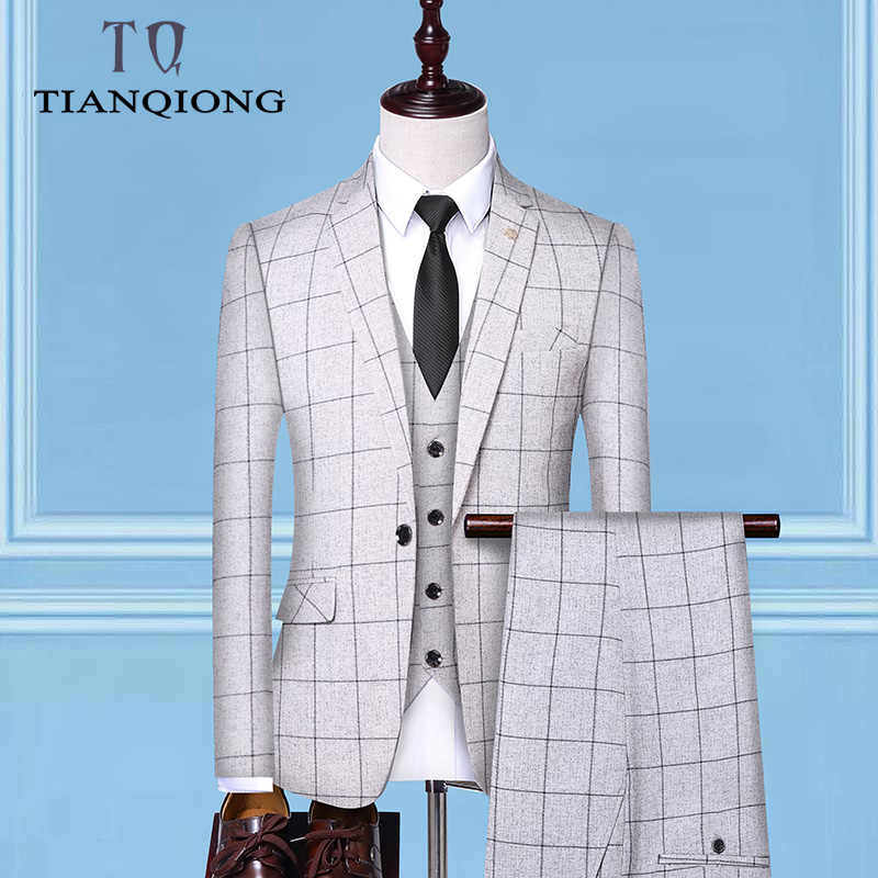 (Jackets + Vest + Pants)2019 Men's Groom Wedding Dress Plaid Formal Suits Set Men Fashion Casual Business Suit Three-piece