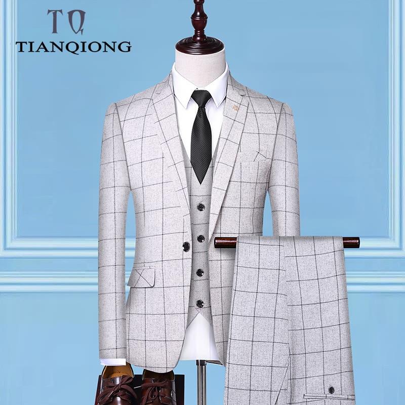 (자켓 + 조끼 + 바지) 2019 남자 신랑 웨딩 드레스 격자 무늬 정장 세트 남자 패션 캐주얼 비즈니스 정장 3 피스-에서정장부터 남성 의류 의  그룹 1