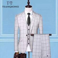 (מעילים + אפוד + מכנסיים) 2019 גברים של חתן שמלות כלה פורמאליות חליפות סט גברים אופנה מזדמנים עסקי חליפת שלושה חלקים