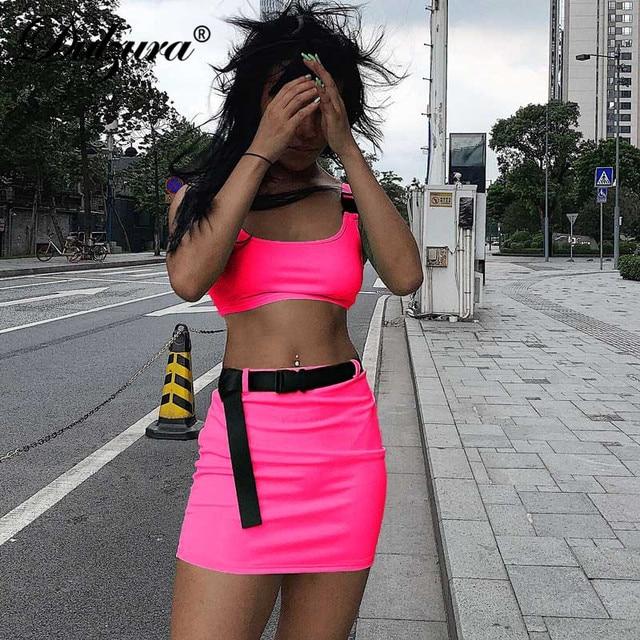 Dulzura 2020 donne di estate due pezzi set insieme del pannello esterno della fasciatura crop top tuta outfit streetwear 2 pezzi vestiti di festa 3