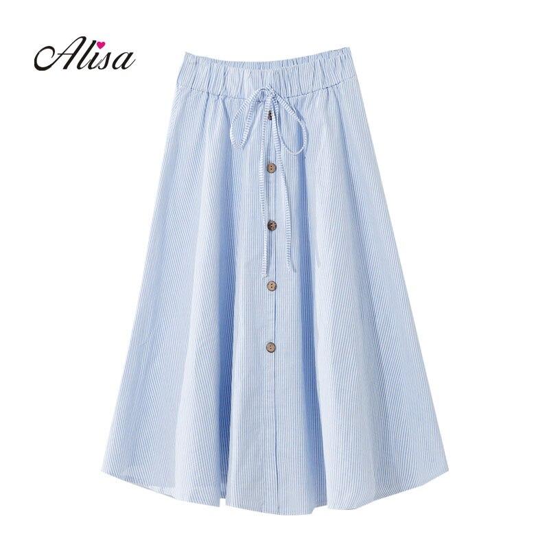 Faldas largas para mujer 2018 nuevo verano ajustado Línea A elástico  cintura rayas enrejado Casual faldas señoras Vintage chicas Falda Mujer b86cd5eb3b65