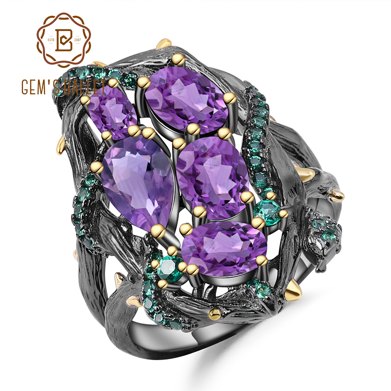 GEM'S BALLET 3.23Ct Natural Amethyst Rings 925 Sterling Silver Handmade Hollow Element Ring For Women Bijoux Fine Jewelry