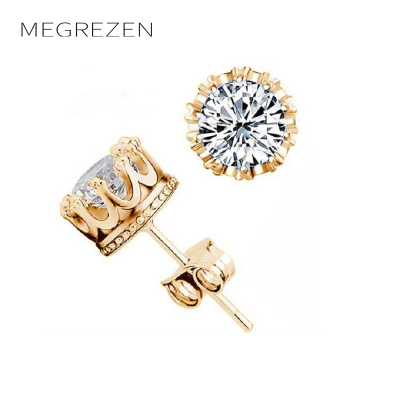 MEGREZEN Gold Color Men Earrings Round Fashion Women Earing Pendientes Unisex Cubic Zirconia Stud Earrings Jewelry YE021