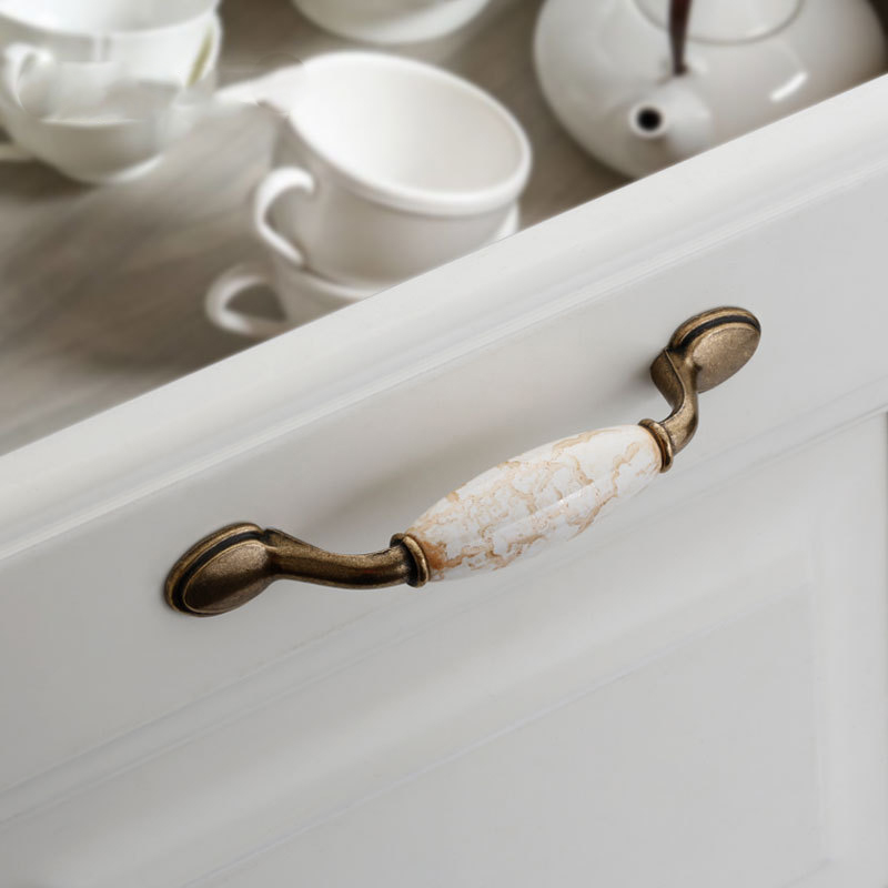 European High Quality Zinc Alloy Material Antique Ceramic Furniture Hardware Door Handle Wardrobe Drawer Cabinet Pull Handles in Door Handles from Home Improvement