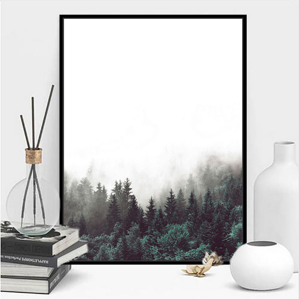 Simple wall art nordic forest lanscape painting poster canvas painting prints outside framed wall art decor home decoration 1pcs
