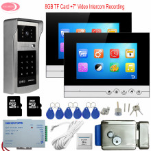 "7"" Home Intercom With Recording 2 Monitors Touch Button Rfid Password Outdoor Camera Video Intercom System + Electric Lock Kit"