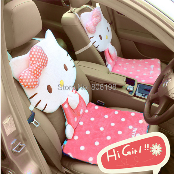 New Cute 1 PC Hello Kitty Pink Plush Car Seat Cushion Cover Chair Back Bow - Shenzhen Zhijutianxia Technology Co.,Ltd store