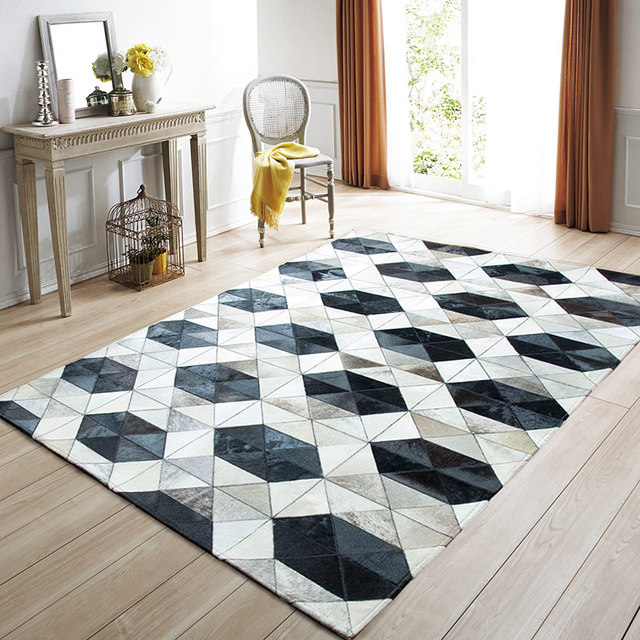 american style luxury cowhide seamed rug modern geometric pattern cowskin chequer carpet for. Black Bedroom Furniture Sets. Home Design Ideas