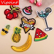 VIPOINT embroidery watermelon pineapple banana patches pizza beverages badges applique for clothing YX-299