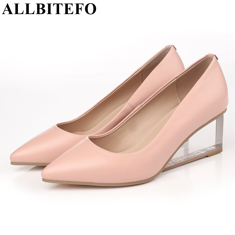 ФОТО ALLBITEFO Transparent heel Large size wedges heel fashion women pumps genuine leather platform pointed toe party shoes woman