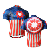 2016 Long-lasting Captain American Graphic Short Sleeves Cycling Jersey Workout Fitness Bike Clothing Body Building T-Shirt