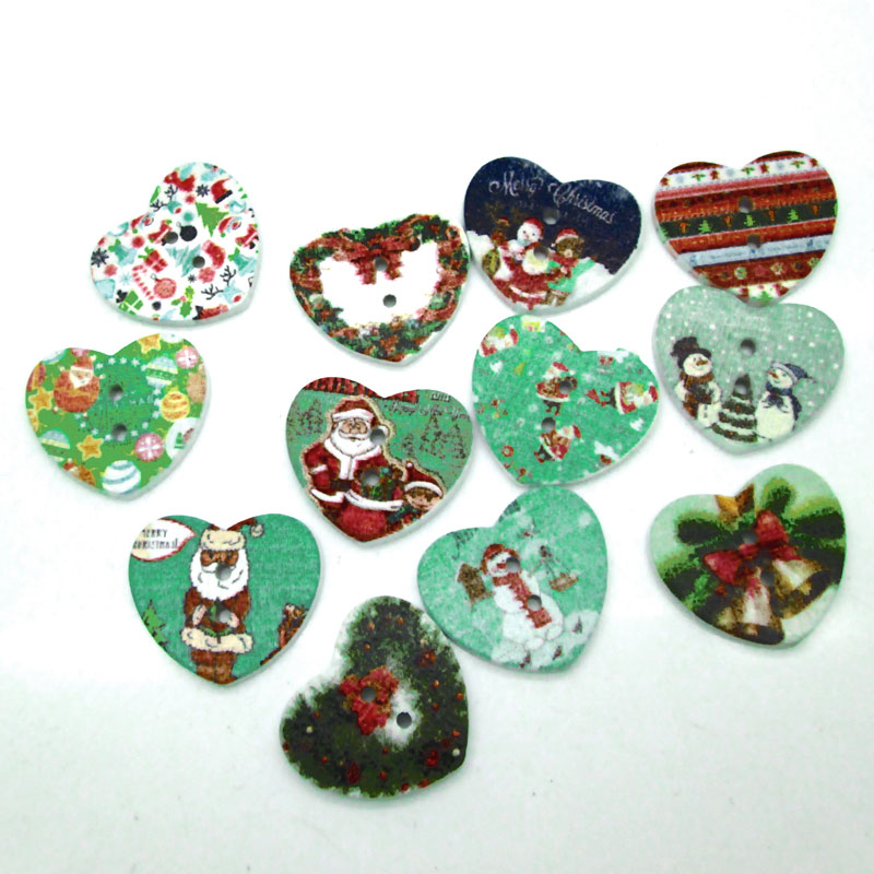 40Wooden Christmas buttons craft Christmas mixed