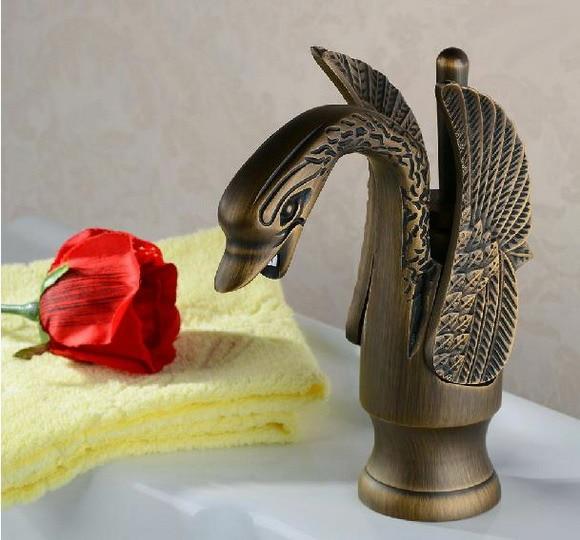 Antique laiton oiseaux migrateurs Style unique poignée salle de bain navire évier robinet mélangeur robinets aan015
