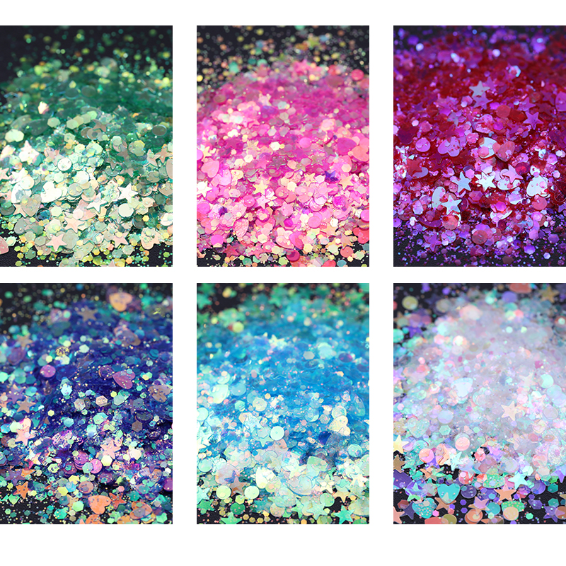 6 Boxes Nail Glitter Sequins Set Shining AB Color Chameleon Heart Star Round Manicure DIY Nail Art Face Body Decoration