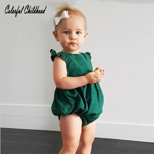 04456d2506c9 Vintage emerald Baby Rompers Newborn Baby Girls Clothes ruffles princess  overalls cotton Baby pajamas children clothes summer