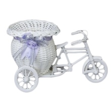 Flower Plastic White Tricycle Bike Design Basket Container For Plant Home Weddding Decoration