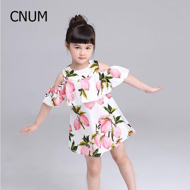 2017 vestido de verano chica lemon impresión cabritos del vestido de 2016 de encaje de loto cintura Vestido de Niña Niños Fashi en Ropa Para Niños Chicas para 2-8y