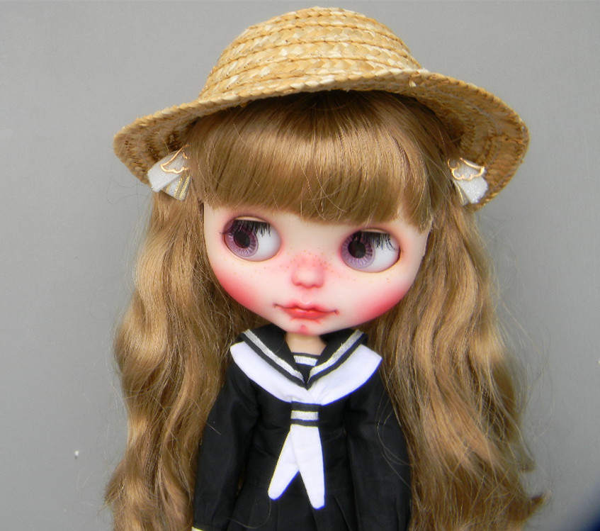 Free shipping Handmade Straw hat for Blythe doll pullip dal jerryberry 1/3 BJD dolls doll accessories uncle 1 3 1 4 1 6 doll accessories for bjd sd bjd eyelashes for doll 1 pair tx 03